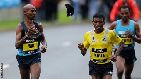 Mo Farah (left) and Haile Gebrselassie (centre)