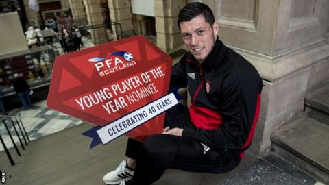 Scott McKenna poses with his Young Player of the Year Award nomination
