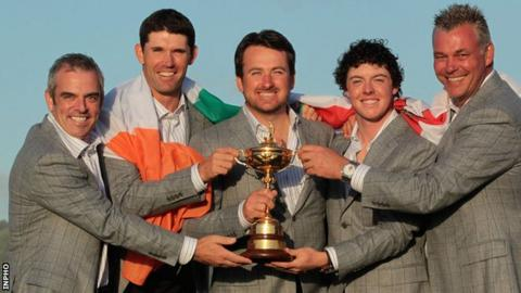 Paul McGinley, Padraig Harrington, Graeme McDowell, Rory McIlroy and Darren Clarke after Europe's Ryder Cup triumph in 2010
