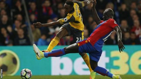 Mamadou Sakho (right) in action during the 3-0 win over Arsenal