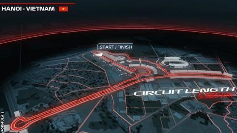 The official F1 website provided a computer-generated image of the proposed 5.565km track layout in Hanoi