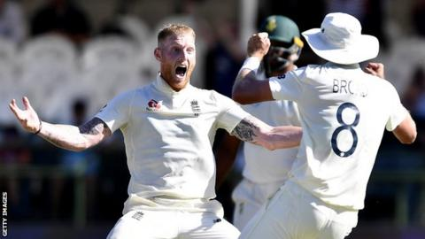 England's Ben Stokes (left) celebrates taking a wicket with team-mate Stuart Broad (right) on day five of the second Test against South Africa