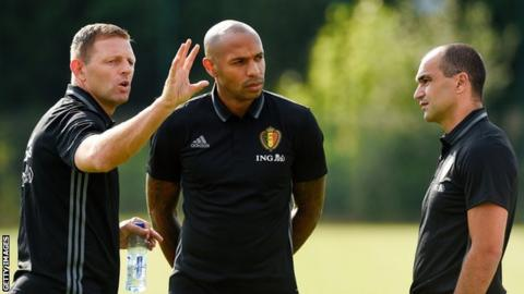 Graeme Jones (left) assisted Belgium boss Roberto Martinez (right) alongside Thierry Henry (centre) from 2016 until this summer's World Cup