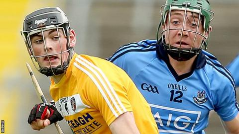 Antrim's Gerard Walsh in action against Daire Gray of Dublin