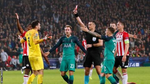 a3c5dea67ac Hugo Lloris is the second Tottenham goalkeeper to be sent off in the  Champions League after Heurelho Gomes v Inter Milan in October 2010.