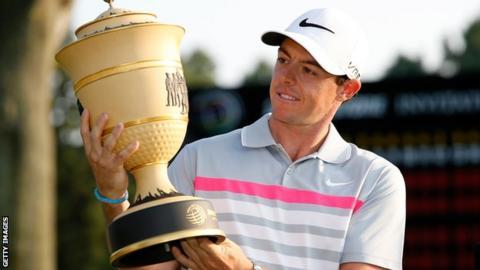 Rory McIlroy celebrates his 2014 success in the WGC-Bridgestone Invitational