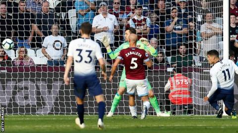 Erik Lamela scores for Tottenham
