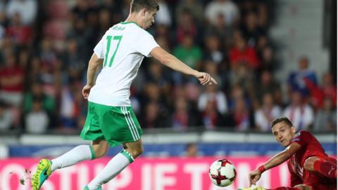 Paddy McNair sees his shot saved by Czech goalkeeper Tomas Vaclik