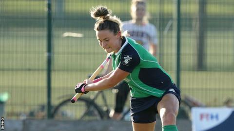 Nikki Evans marked her 150th cap with her 35th goal for Ireland