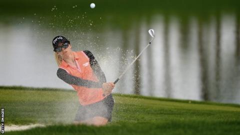 Sweden's Pernilla Lindberg takes a three-shot lead into the final round of the first women's major of the year