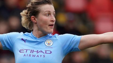 Ellen White celebrates scoring for Manchester City