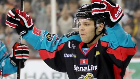 David Rutherford of the Belfast Giants celebrates scoring against Braehead Clan
