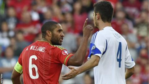 Wales captain Ashley Williams remonstrates with Israel's Nir Bitton