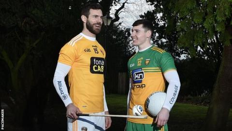 Antrim hurler Neil McManus and Donegal footballer Jamie Brennan at the launch of the Football and Hurling Leagues at Malone House in Belfast on Wednesday