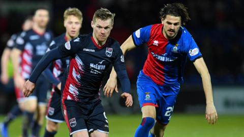 Ross County's Billy McKay and Inverness CT's Charlie Trafford.