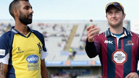 Northamptonshire captain Alex Wakely tosses the coin alongside Birmingham captain Varun Chopra before the NatWest T20 Blast semi-final in August 2015