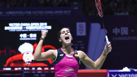 CHANGZHOU, CHINA - SEPTEMBER 22: Carolina Marin of Spain celebrates victory after the Women's Singles final match against Tai Tzu Ying of Chinese Taipei on day six of 2019 China Badminton Open at Olympic Sports Center Xincheng Gymnasium on September 22, 2019 in Changzhou, Jiangsu Province of China. (Photo by Zheng Hongliang/VCG via Getty Images)