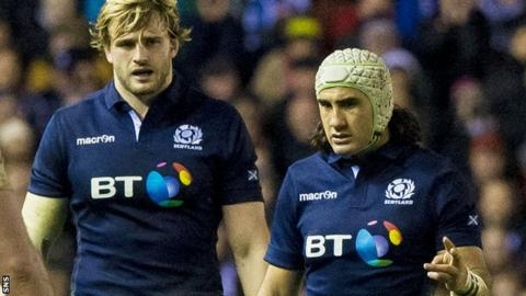 Richie Gray (left) and Blair Cowan discuss a point against England