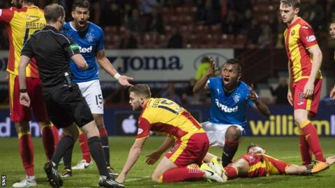 Rangers striker Alfredo Morelos remonstrates with the referee against Partick Thistle