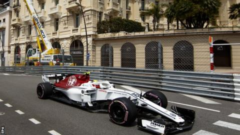 Charles Leclerc in action at the Monaco Grand Prix