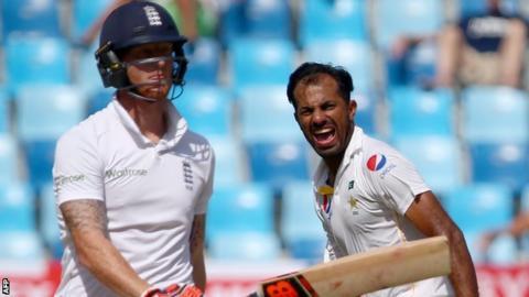 Wahab Riaz celebrates the wicket of Ben Stokes