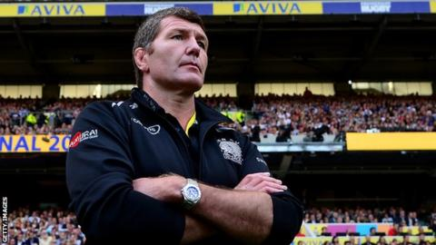 Exeter boss Rob Baxter looks on during the Premiership final win over Saracens in May 2017