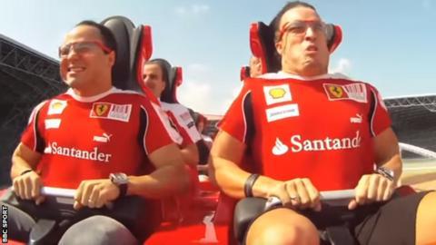 Massa and Alonso at Ferrari World