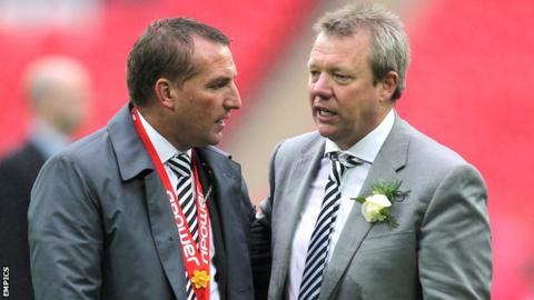 Martin Morgan with former Swansea manager Brendan Rodgers