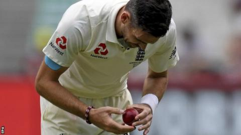 England's James Anderson work on the ball