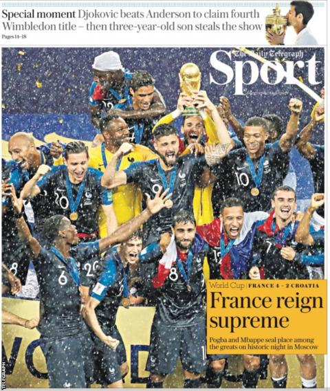The daily Telegraph shows an image of French players celebrating in the rain