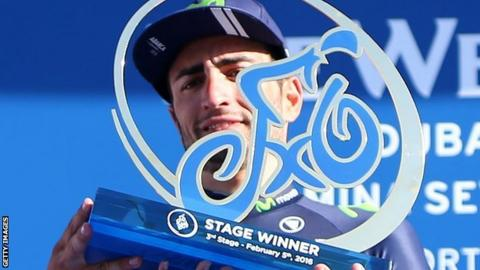 Juan Jose Lobato celebrates winning the third stage of the Tour of Dubai in February 2016