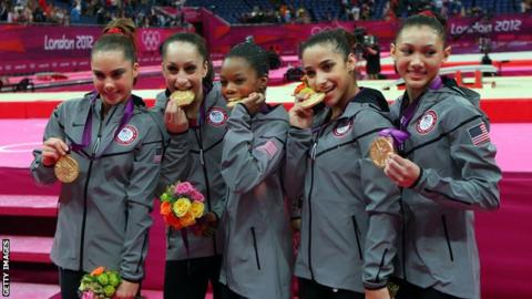 The gold medal-winning USA gymnastics team at the 2012 Olympic Games in London