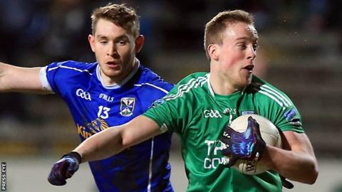 Fermanagh's Che Cullen is challenged by Cavan's David Givney during the Football League game in March