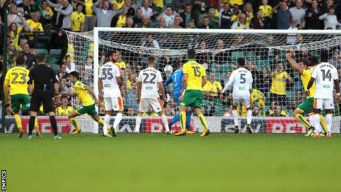 Nelson Oliveira's goal was his fifth for Norwich in eight games this season