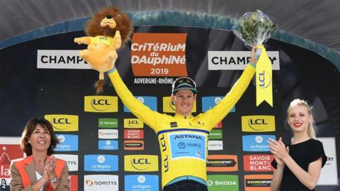 Jakob Fuglsang on the Criterium du Dauphine podium
