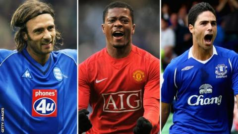 Left to right: Christophe Dugarry, Patrice Evra, Mikel Arteta