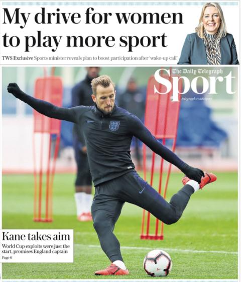 The Telegraph also lead on Kane insisting England can push on from their positive World Cup campaign