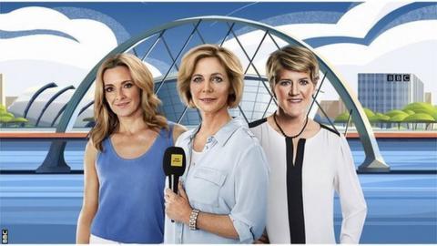 BBC presenters Gabby Logan, Hazel Irvine and Clare Balding