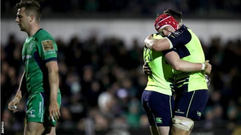 Barry Daly celebrates his try with Leinster team-mate Josh van der Flier