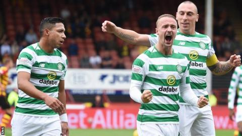 Leigh Griffiths celebrates his first goal of the season