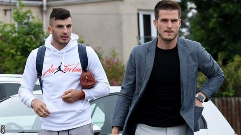 Mihai Popescu and Vaclav Hladky arrive for St Mirren training
