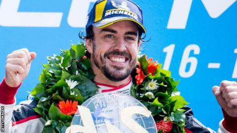Fernando Alonso celebrates winning Le Mans 2018