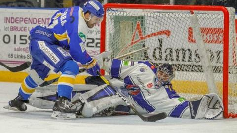 Flyers forward Marcus Basara lines up a shot against Coventry goalkeeper Matt Hackett on Saturday
