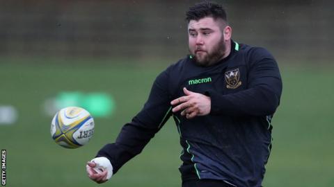 Northampton's Kieran Brookes in training
