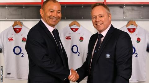 England coach Eddie Jones (left) with CEO Steve Brown
