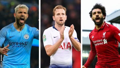 Sergio Aguero, Harry Kane and Mohamed Salah celebrate goals