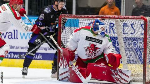 Cardiff netminder Ben Bowns reacts to a Glasgow attack