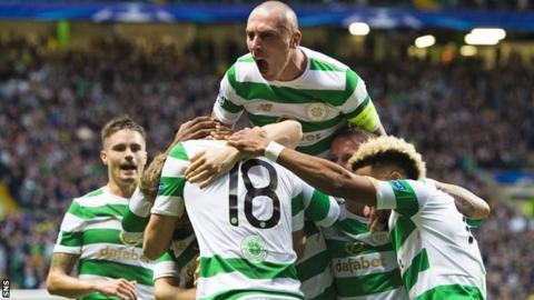 Celtic captain Scott Brown celebrates with his team-mates