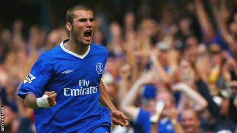 Adrian Mutu starts to celebrate a goal that was later disallowed for Chelsea in 2003