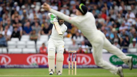 England fielder Dominic Bess catches out Pakistan's Haris Sohail